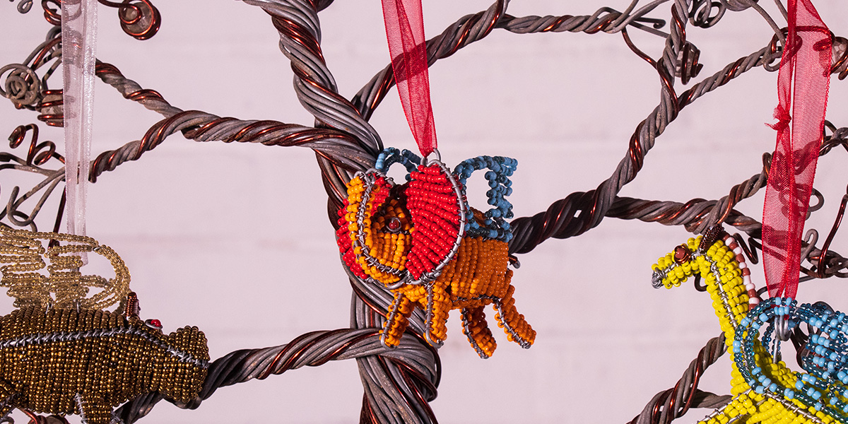 Netshomi Zam African Beadwork - Streetwires Beaded African Art Christmas Animals